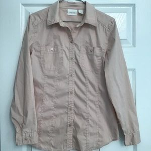 Chico's Blush Button Long Sleeve Blouse Size S